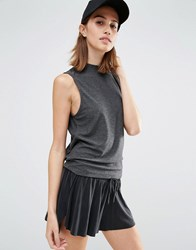 Vero Moda Contrast Split Back Shell Top Grey