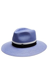 Maison Michel Henrietta Straw Hat Blue
