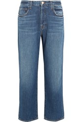 J Brand Ivy Cropped High Rise Straight Leg Jeans Mid Denim