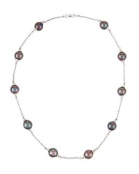 Belpearl 14K Tahitian Pearl Station Necklace 9Mm
