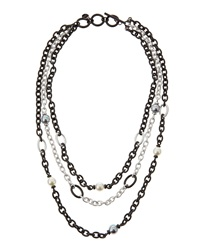 Majorica 3 Chain Mixed Metal Necklace With Pearls