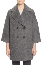 Pink Tartan 'Liz' Fuzzy Double Breasted Coat Grey