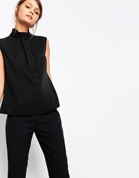 Closet High Neck Blouse With Folded Neck Detail Black
