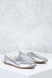 Forever 21 Metallic Faux Leather Loafers Silver