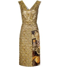 Prada Fructidor Cloque Jacquard Dress Gold