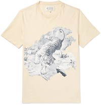Maison Martin Margiela Slim Fit Printed Cotton Jersey T Shirt Off White