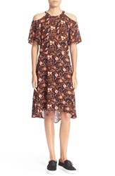 Women's A.L.C. 'Emile' Cold Shoulder Floral Print Silk Dress Black Henna Pink