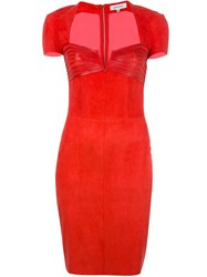 Jitrois Panelled Sweetheart Neck Dress Red