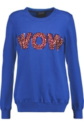 Markus Lupfer Wow Embellished Cotton Jersey Sweatshirt Blue