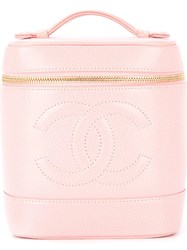 Chanel Vintage Cc Cosmetic Vanity Hand Bag Pink And Purple