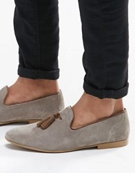 Asos Tassel Loafers In Grey Suede With Natural Sole Grey