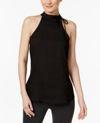 Calvin Klein Tie Neck Halter Top Black