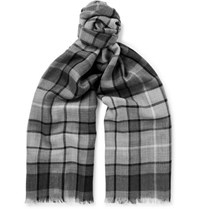 Johnstons Of Elgin Fringed Checked Cashmere Scarf Gray