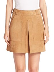Vince Suede Inverted Pleat Mini Skirt Tan