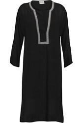 Dkny Embroidered Crepe Kaftan Black