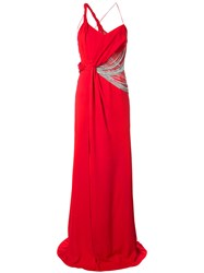Versace Chain Embellished Gown Red