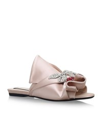 No.21 Satin Bow Cherry Slippers Female Nude
