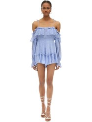 Alice Mccall Ruffled Silk Blend Plumetis Mini Dress Light Blue