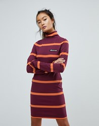 Ellesse Jersey Mini Dress With Roll Neck Burgundy Red