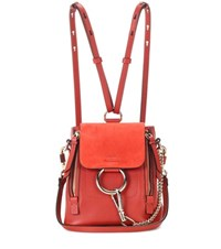 Chloe Faye Mini Leather And Suede Backpack Red