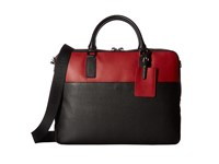 Bugatchi Pebble Leather Full Grain Two Tone Brief Case Black Briefcase Bags