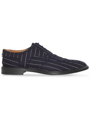 Burberry Pinstriped Wool Brogues Blue