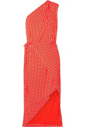Preen Klauber One Shoulder Printed Twill Dress Tomato Red