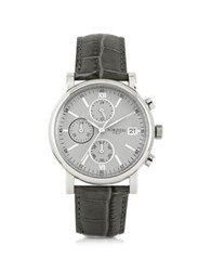 Forzieri Berlino Silver Tone Stainless Steel Case And Genuine Embossed Leather Men's Chrono Watch