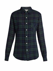 R 13 Point Collar Plaid Wool Shirt Black Multi