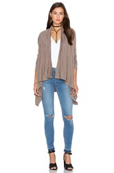 Bobi Fine Woolen Jersey Long Sleeve Wrap Cardigan Brown