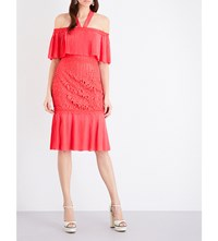 Temperley London Berry Lace Cocktail Dress Coral