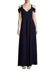 Laundry By Shelli Segal Cold Shoulder Shirred Gown Tinted Blush