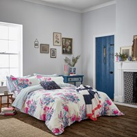 Joules Cottage Garden Floral Duvet Cover White Pink
