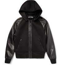 Givenchy Slim Fit Leather And Neoprene Hooded Jacket Black