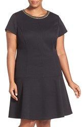 Plus Size Women's Ellen Tracy Chain Detail Pique Drop Waist Dress