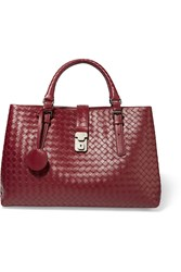 Bottega Veneta Roma Medium Intrecciato Leather Tote Claret