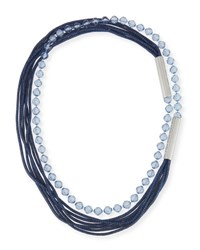Lafayette 148 New York Bead And Mesh Long Necklace Niagara Blue