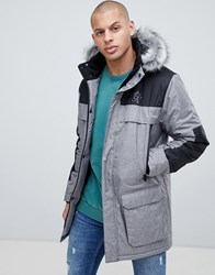 Gym King Hooded Parka Jacket With Faux Fur Hood Grey