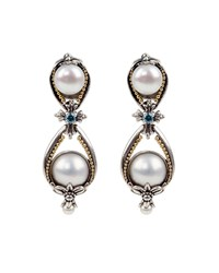 Konstantino Thalia Pearl And Blue Spinel Earrings Yellow Gray