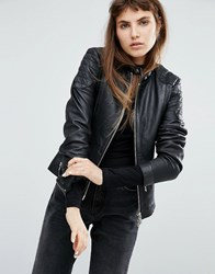 Goosecraft Collarless Leather Jacket With Quilted Detail Black