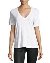 Zadig And Voltaire Distressed V Neck Tee White