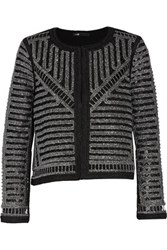 Maje Metallic Open Knit Jacket Silver