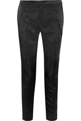Red Valentino Satin Straight Leg Pants Black