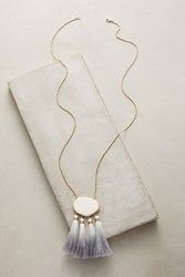 Anthropologie Howlite Tassel Pendant Necklace White
