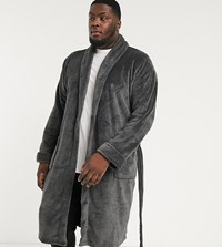 French Connection Plus Fleece Robe Gray