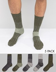 Asos Textured Socks In Khaki 5 Pack Khaki Green