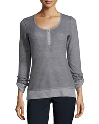 L.A.M.B. Waffle Knit 3 Button Henley Heather Gray