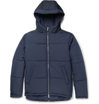 Folk Quilted Shell Hooded Jacket Blue