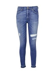 7 For All Mankind Josie Cropped Beyond Retro Jeans Mid Indigo Mid Ripped