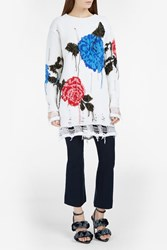 Msgm Oversized Floral Intarsia Sweater White